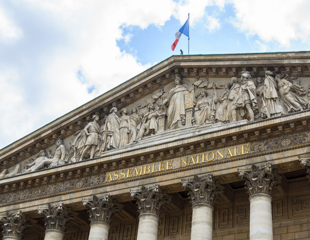 The Assemblée Nationale building in Paris, France