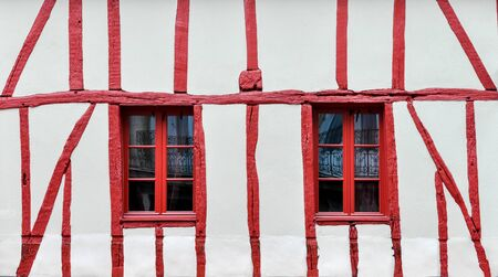 half timbered: White and red half-timbered house detail