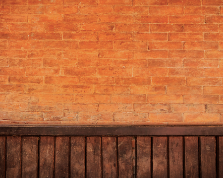 Brick and wood wall background photo