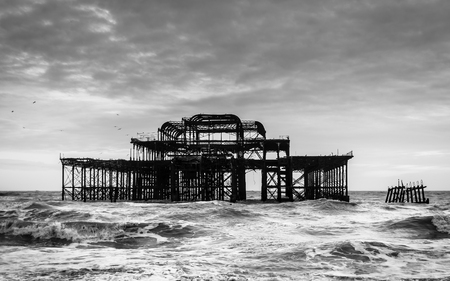 old pier: The West Pier in Brighton, UK, black and white