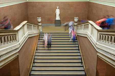 LONDON, UK - CIRCA JULY 2012  People visiting the British Museum  Long exposure, motion blur