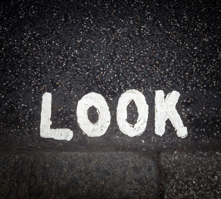 kerb: Look sign painted on the street