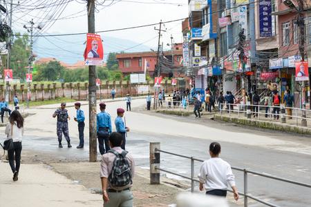 KATHMANDU, NEPAL - AUGUST 3, 2014  Boudhanath Sadak is empty before Indian Prime Minister Narendra Modi arrives in Kathmandu on a 2-day official Nepal visit