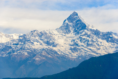 pinnacle: The Machhapuchhre also called Fish Tail in the Annapurna region is said to be the place where god Shiva lives, Nepal Stock Photo