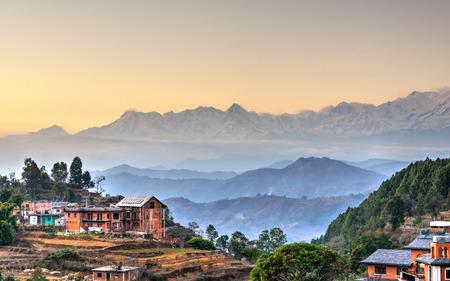 ネパールの HDR 写真バンディプル村