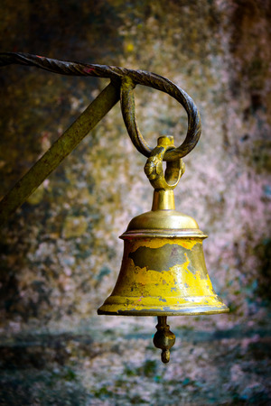 hinduist: Yellow bell in a temple in Kathmandu, Nepal