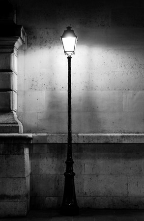 black stone: Vintage lamp post in Paris, black and white photography