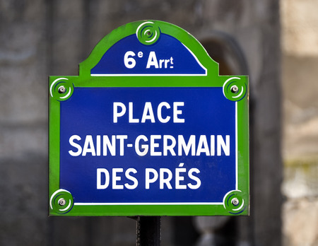 pres: Place Saint-Germain des Pres street sign in Paris, France
