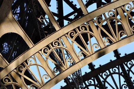 the old architecture: Eiffel Tower detail in Paris, France Stock Photo