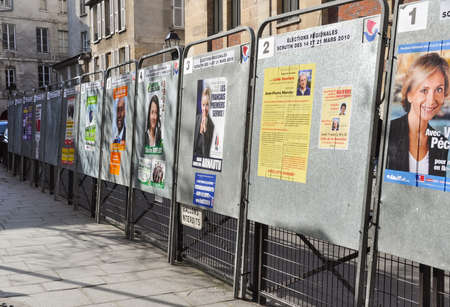 regional: PARIS, FRANCE - CIRCA MARCH 2010: Official election boards set up for the regional elections. Editorial