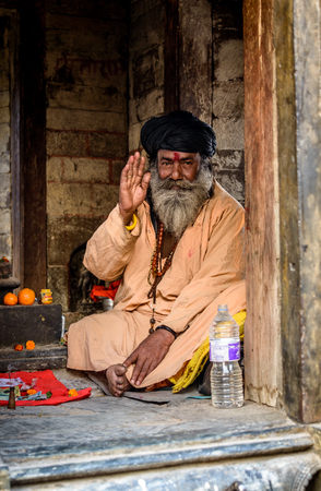ascetic: KATHMANDU, NEPAL - FEBRUARY 16, 2015: A sadhu in Pashupatinath for Maha Shivaratri which will be celebrated on February 17. Shivaratri is celebrated each year to honor Lord Shiva.