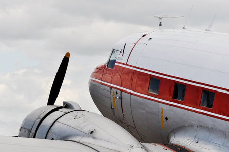 twin engine: Detail of a vintage airplane