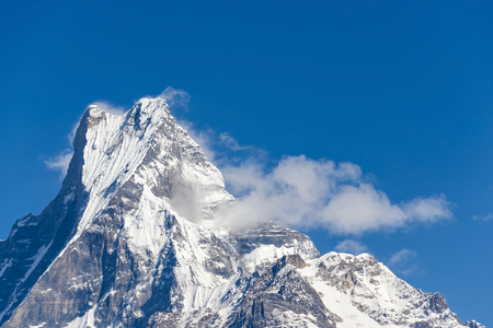 fish tail: The Machapuchare (Fish Tail in English) in the Annapurna region, Nepal Stock Photo