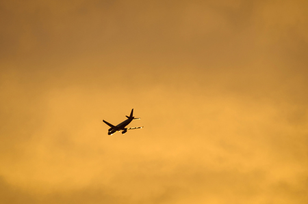 twin engine: An airliner flying in the evening light