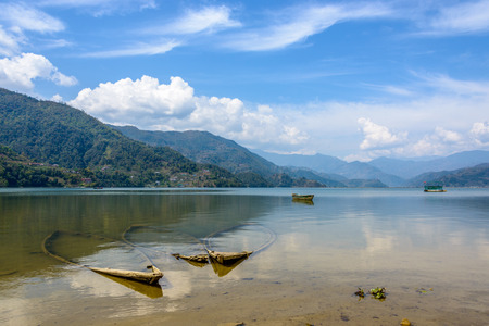 phewa: Three sunk boats in Phewa lake, Pokhara, Nepal