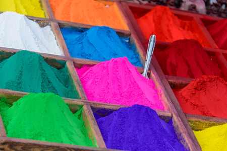 Colorful powders in Kathmandu, Nepal