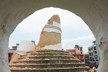 collapsed: KATHMANDU, NEPAL - APRIL 26, 2015: The collapsed Dharhara tower after the major earthquake on 25 April 2015.