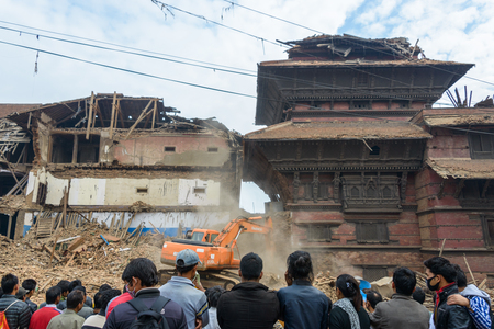richter: KATHMANDU, NEPAL - APRIL 26, 2015: Military forces starts the rescue effort at Durbar Square which is severly damaged after the major earthquake on 25 April 2015.