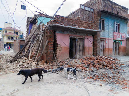 quake: KATHMANDU, NEPAL - APRIL 25, 2015: Detroyed house after the 7.8 earthquake which hit Nepal.