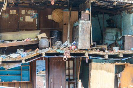 damaged house: KATHMANDU, NEPAL - MAY 13, 2015: A damaged house after a 7.3 earthquake hit Nepal on May 12, 2015. Editorial