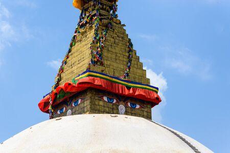 quake: KATHMANDU, NEPAL - MAY 13, 2015: minor damage is visible on Boudhanath stupa.