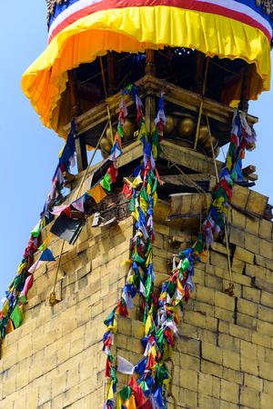 richter: KATHMANDU, NEPAL - MAY 13, 2015: minor damage is visible on Boudhanath stupa.