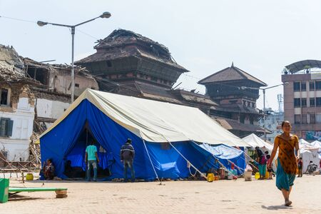 earthquakes: KATHMANDU NEPAL  MAY 14 2015: A makeshift campsite is set up at Durbar Square after two major earthquakes hit Nepal in the past weeks. Editorial