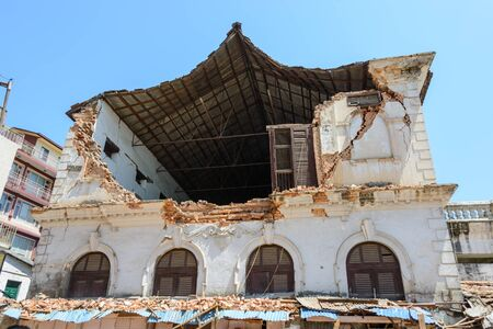 richter: KATHMANDU NEPAL  MAY 14 2015: A damaged building after two major earthquakes hit Nepal in the past weeks.