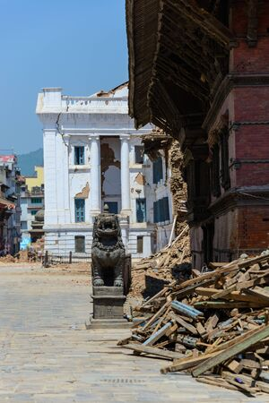severely: KATHMANDU NEPAL  MAY 14 2015: Gaddi Durbar palace on Durbar Square is severely damaged after two major earthquakes hit Nepal in the past weeks.