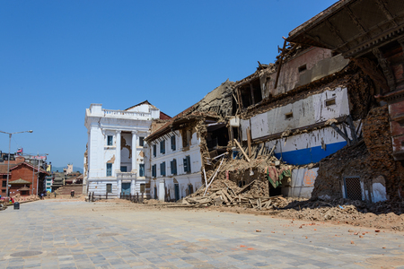 earthquakes: KATHMANDU NEPAL  MAY 14 2015: Gaddi Durbar palace on Durbar Square is severely damaged after two major earthquakes hit Nepal in the past weeks.