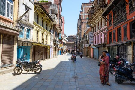 richter: KATHMANDU NEPAL  MAY 14 2015: Most of the shops are closed on Freak Street after two major earthquakes hit Nepal in the past weeks. Editorial