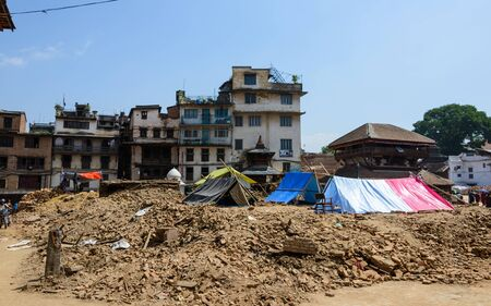 pitched: KATHMANDU NEPAL  MAY 14 2015: Tents are pitched on Durbar Square after two major earthquakes hit Nepal in the past weeks.