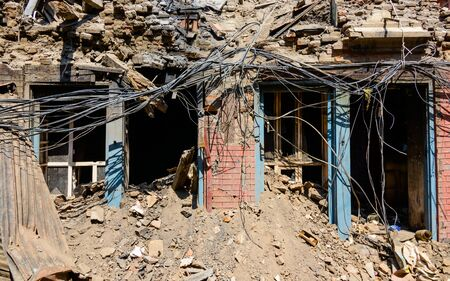 earthquakes: KATHMANDU NEPAL  MAY 14 2015: Damaged building and rubble after two major earthquakes hit Nepal in the past weeks.