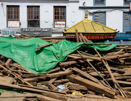 earthquakes: KATHMANDU NEPAL  MAY 14 2015: Durbar Square a UNESCO World Heritage Site is partially destroyed after two major earthquakes hit Nepal in the past weeks. Editorial