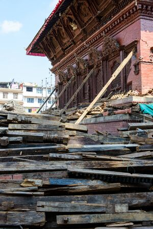 richter: KATHMANDU NEPAL  MAY 14 2015: Durbar Square a UNESCO World Heritage Site is partially destroyed after two major earthquakes hit Nepal in the past weeks. Editorial