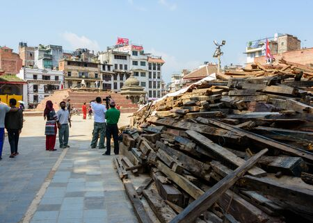 earthquakes: KATHMANDU, NEPAL - MAY 14, 2015: Durbar Square, a UNESCO World Heritage Site, is partially destroyed after two major earthquakes hit Nepal in the past weeks.