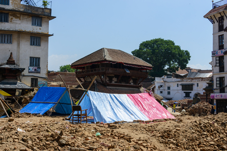 pitched: KATHMANDU, NEPAL - MAY 14, 2015: Tents are pitched on Durbar Square after two major earthquakes hit Nepal in the past weeks. Editorial