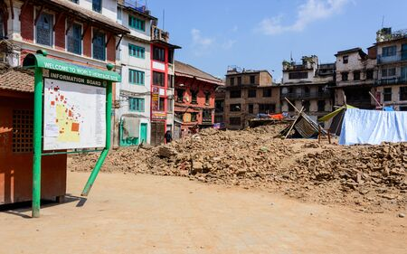 quake: KATHMANDU, NEPAL - MAY 14, 2015: Durbar Square, a UNESCO World Heritage Site, is partially destroyed after two major earthquakes hit Nepal in the past weeks.