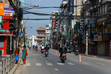 quake: KATHMANDU, NEPAL - MAY 14, 2015: Most of the shops are closed on New Road after two earthquakes hit Nepal, one on April 25, the other on May 12. Editorial