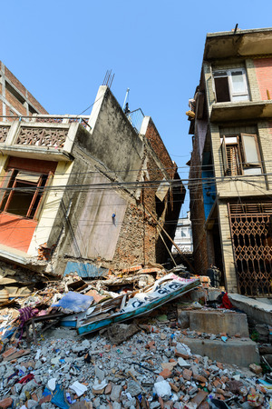 earthquakes: KATHMANDU, NEPAL - MAY 22, 2015: A partially collapsed building after two major earthquakes hit Nepal on April 25 and May 12, 2015.