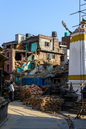 earthquakes: KATHMANDU, NEPAL - MAY 22, 2015: Swayambhunath, a UNESCO World Heritage Site, was severely damaged after two major earthquakes hit Nepal on April 25 and May 12, 2015.