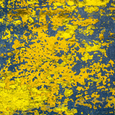 dilapidation: Grungy yellow painted cement floor texture Stock Photo