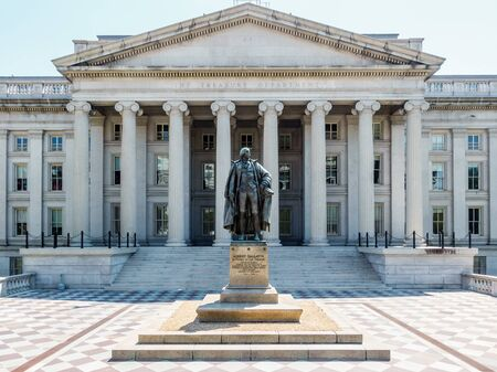 The Treasury Department building in Washington DC, USA