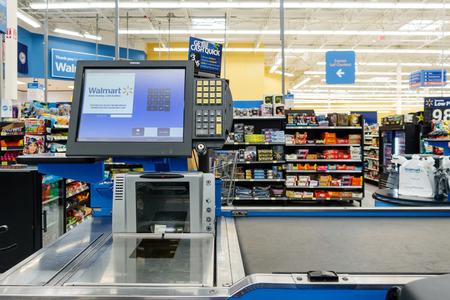 walmart: WILLIAMSBURG, VA, USA - CIRCA AUGUST 2015: Empty till in a Walmart supermarket