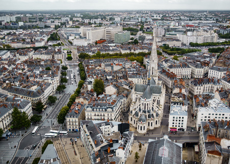 bretagne: NANTES, FRANCE - CIRCA SEPTEMBER 2015: View of Nantes from the top of Tour Bretagne, a 37 stories skyscraper situated in downtown Nantes. Editorial