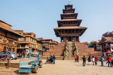 kathmandu: BHAKTAPUR, NEPAL - NOVEMBER 16, 2015: Nyatapola temple on Taumadhi square. Editorial