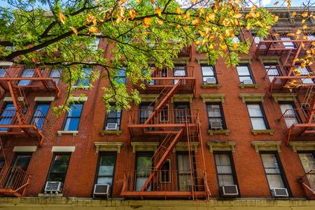 Brick building facade in New York City, USA