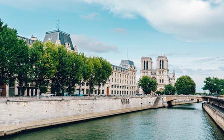 emulation: Notre-Dame cathedral and the river Seine in Paris, France. Film emulation filter applied.