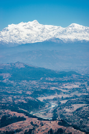emulation: View on the Himalayas from Bandipur in Nepal. Film emulation filter applied.