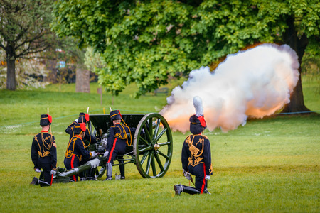 troop: LONDON - UK, MAY 08, 2013: The Kings Troop in Green Park are firing gun salutes for State Opening of Parliament.